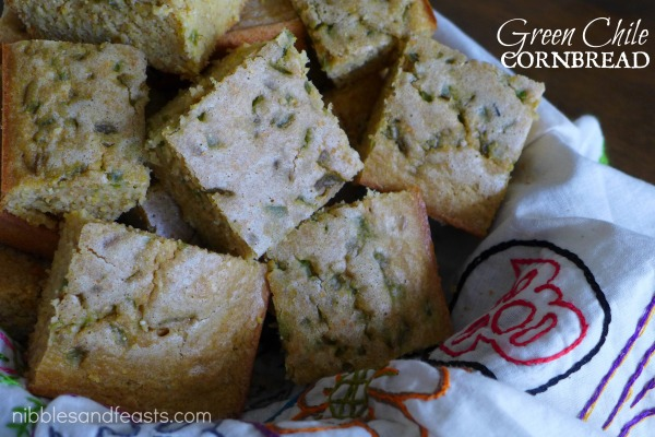 Green Chile Cornbread - Nibbles and Feasts