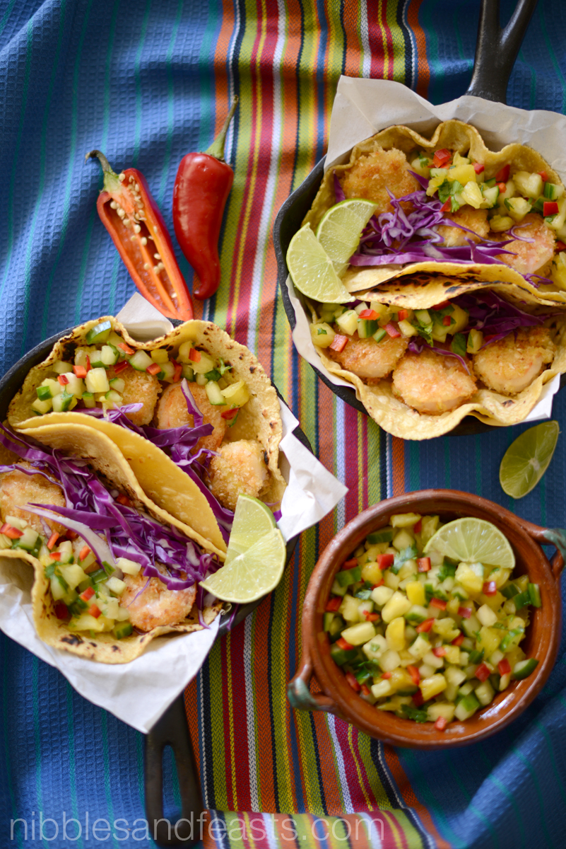 Coconut Shrimp Tacos with Pineapple Pico de Gallo
