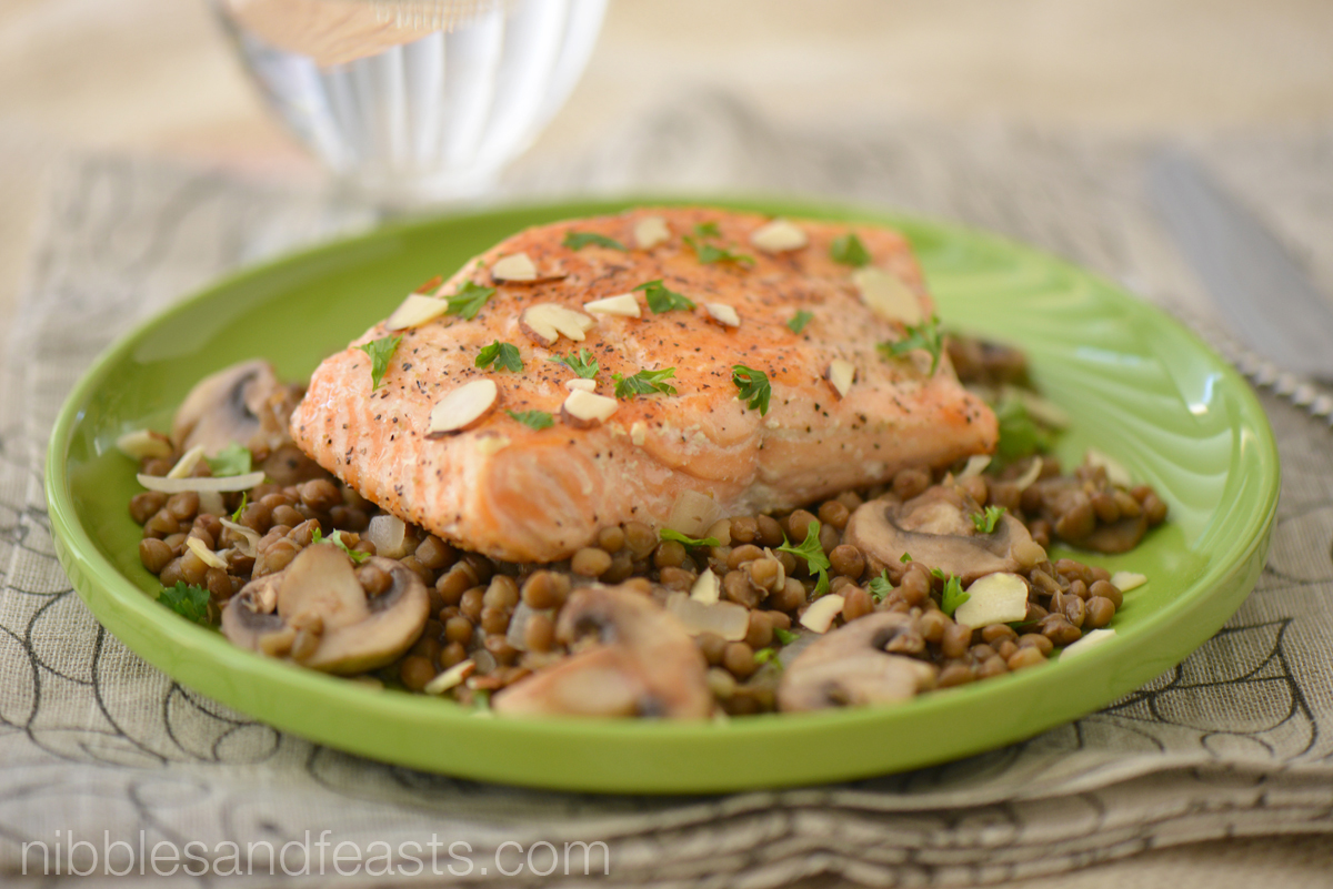 Pan Fried Salmon on a Bed of Lentils