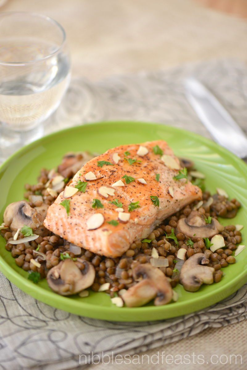 Grilled Salmon on a Bed of Lentils