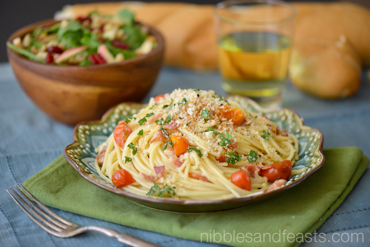 Spaghetti Carbonara with Tomatoes