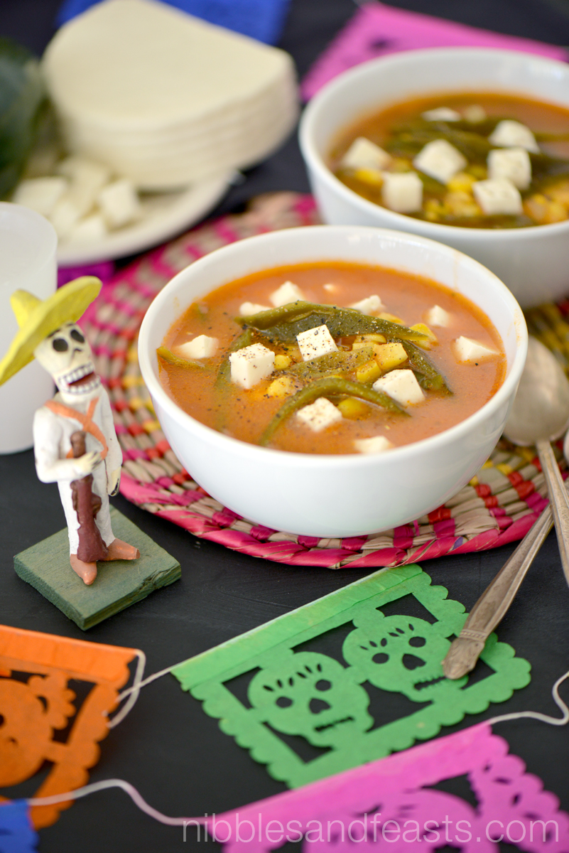 Poblano and Corn Soup with Panela Cheese and Cream