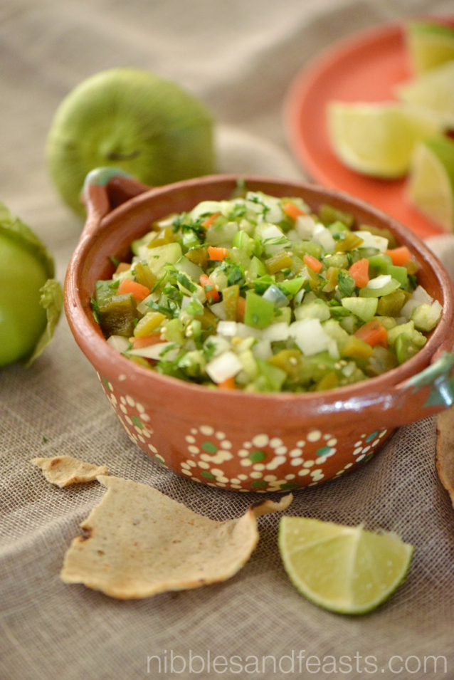 This pico de gallo travels from the refrigerator to the kitchen table ...