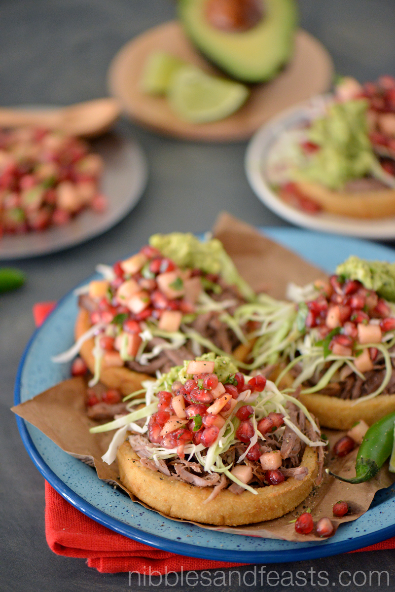 Lamb Sopes with Pomegranate, Apple and Serrano Pico de Gallo