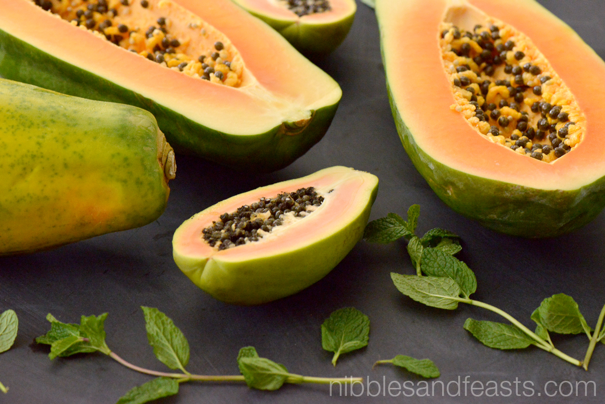 Minty Papaya Margarita with Chile de Arbol Spice - Nibbles and Feasts
