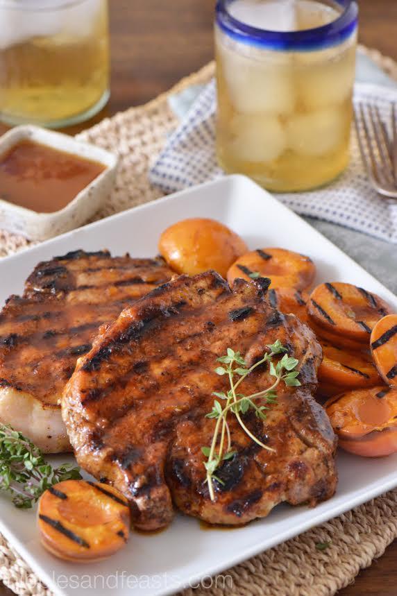 Apricot Glazed Porterhouse Pork Chops