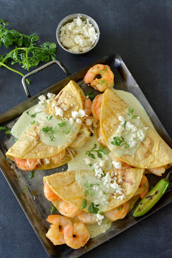 Shrimp Tacos with Creamy Poblano Sauce