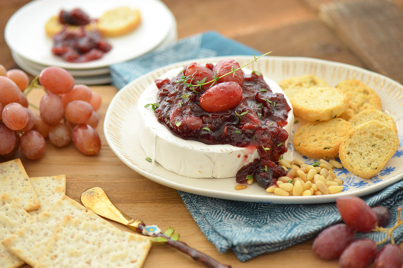 Grape-Cranberry Wine Compote Over Warm Brie