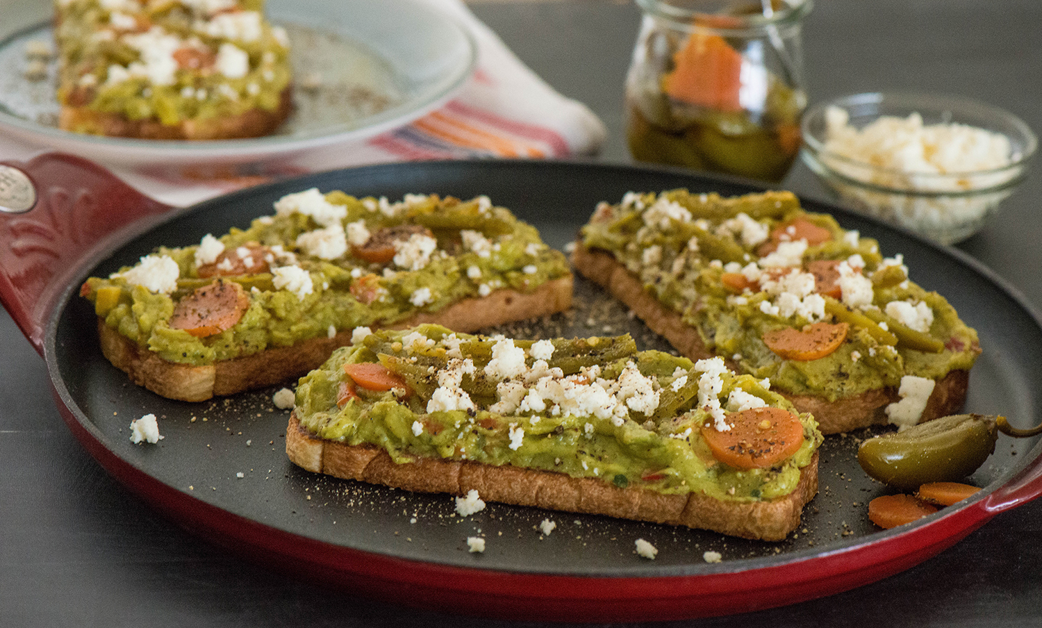 Guacamole, Queso Fresco and Pickled Jalapeño Molletes