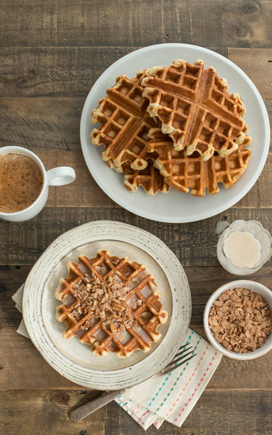 Cinnamon Waffles with Milk Glaze