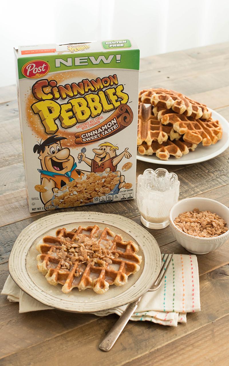 Cinnamon Waffles with Milk Glaze