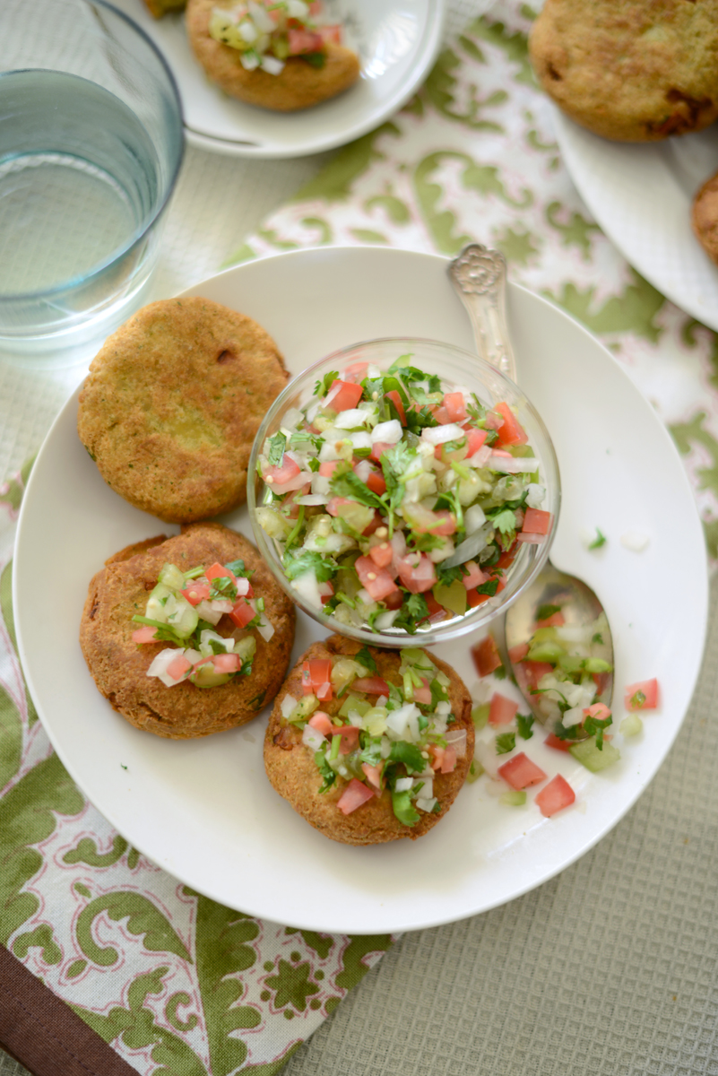 Chickpea Patties with Tomatillo Pico de Gallo
