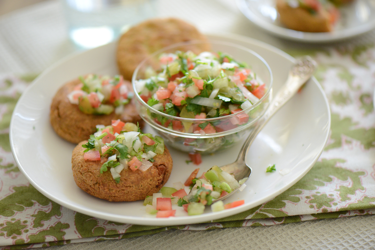 Chickpea Patties with Tomatillo Pico de Gallo - Nibbles and Feasts