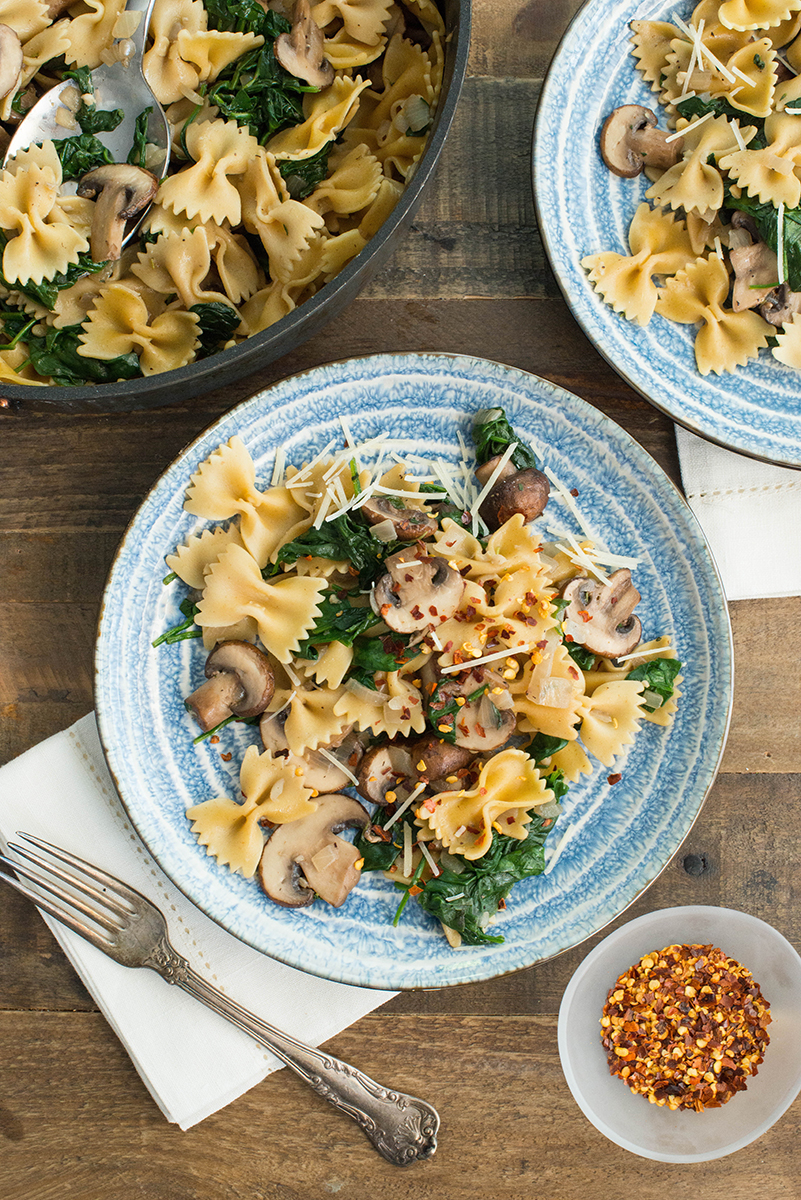 Mushroom and Spinach Farfalle