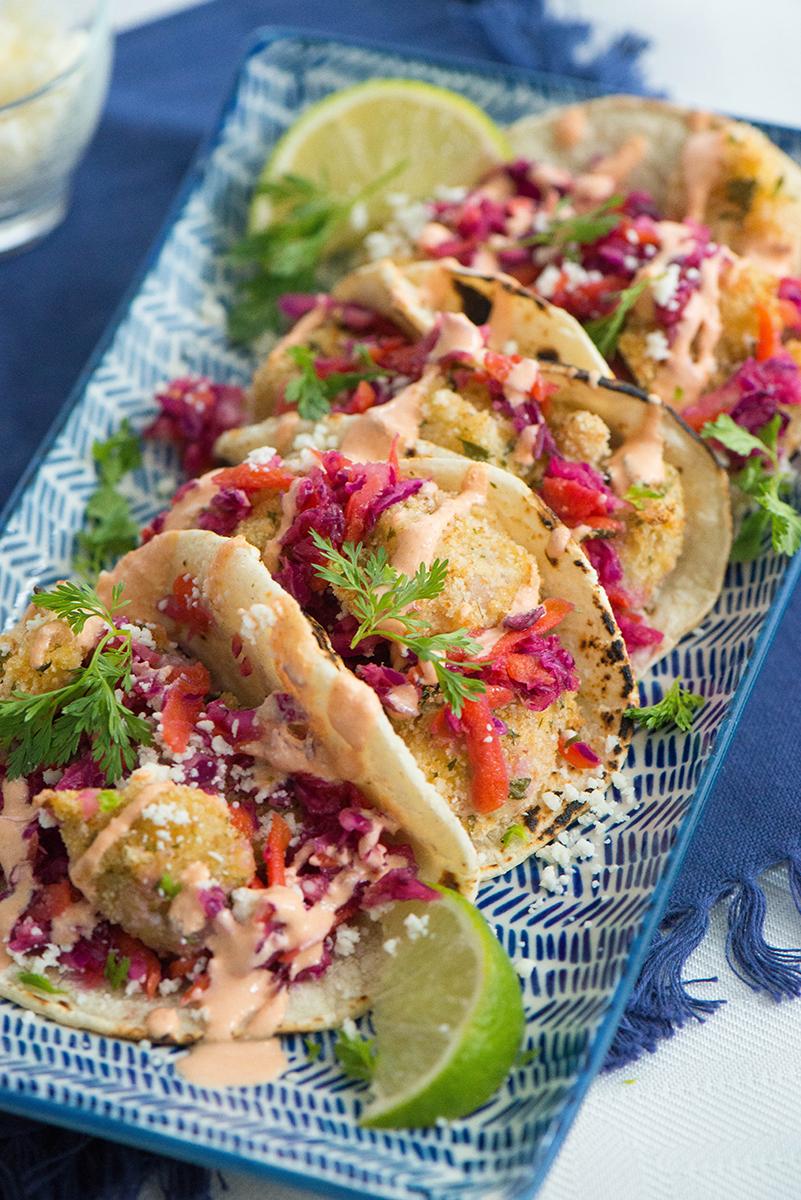 Cotija Baked Shrimp Tacos