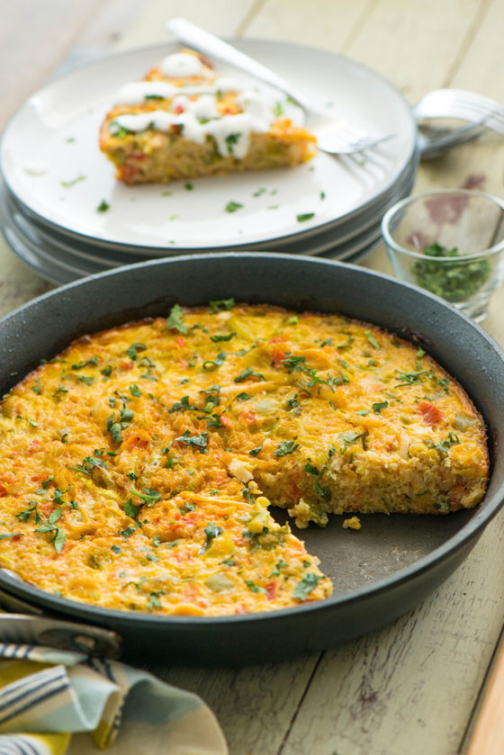 Baked Quinoa and Cotija Frittata with Tomatoes, Leeks and Bell Pepper