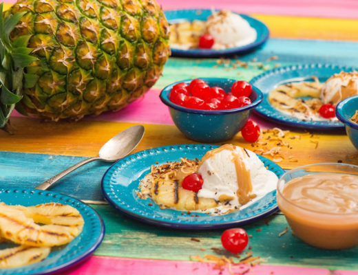 Grilled Piña Colada With Hot Buttered Rum Sauce