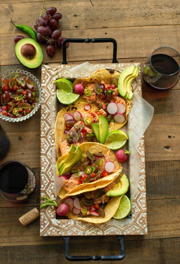 Salmon Tacos with Grape Pico de gallo